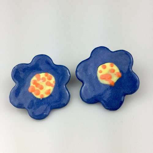 Blue Flower Clay Studs