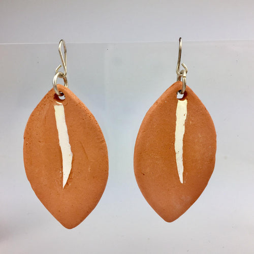 Terracotta Leaf Clay Earrings Small