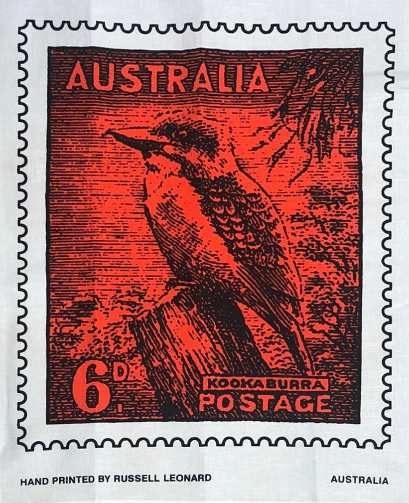 'Kookaburra Postage Stamp' Tea Towel
