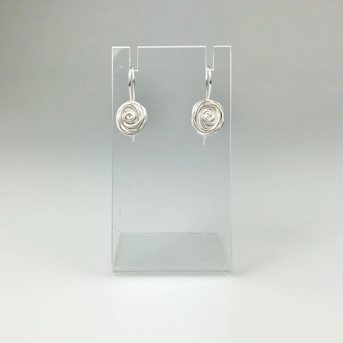Silver Rose Hook Earrings