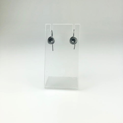 Oxidised Circle Stack Hook Earrings