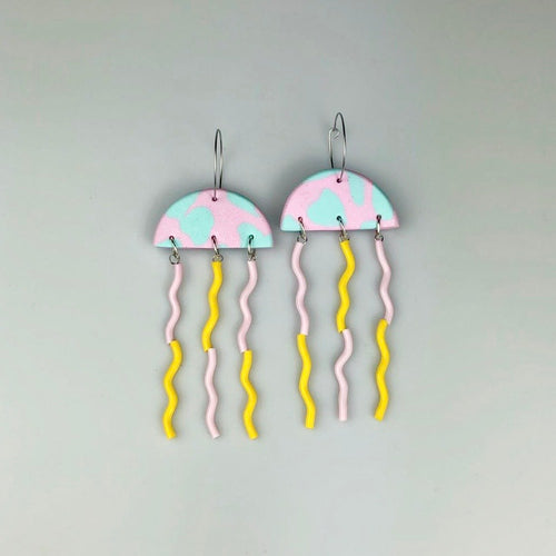 Jelly Earrings in Pink and Light Blue
