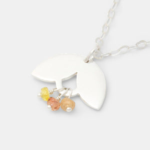 Leaves and Yellow Sapphire Necklace
