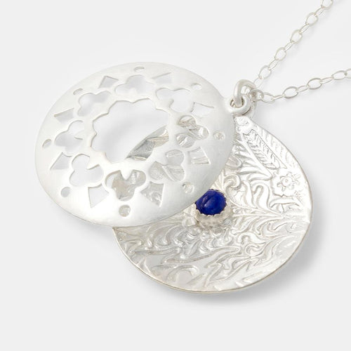 Mandala Open pendant with Lapis Lazuli Gemstone