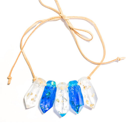 Resin Crystal Necklace in Blue + Clear