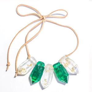 Resin Crystal Necklace in Green + Clear