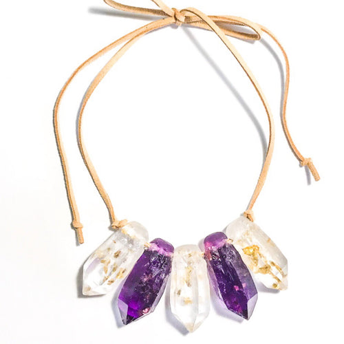 Resin Crystal Necklace in Purple + Clear