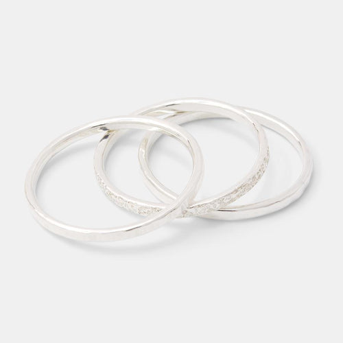 Silver Stacking Ring Set Size L