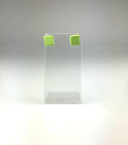 Small Resin Stud Earrings in Lime Green
