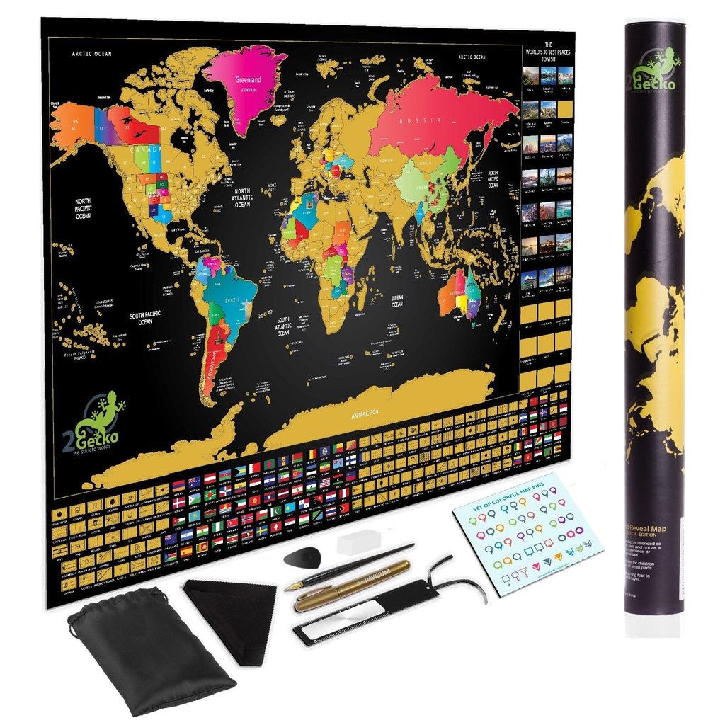 Deluxe Large Scratch Off World Map Personalized Travel  FEATURES BUCKET LIST - chuckitthere