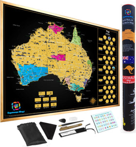 Scratch Off Australia Maps  World with Sleek tube and Scratch tools