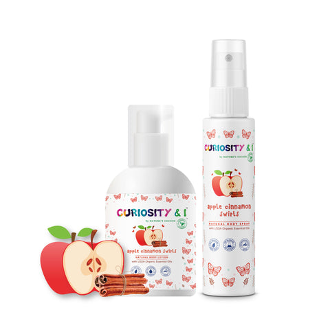 GiftPack - Kids Natural Body Lotion & Body Spray - Apple Cinnamon Swirls - Curiosity&I
