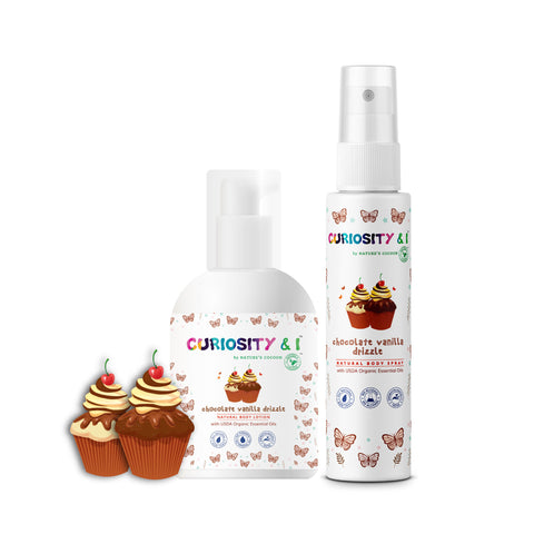 GiftPack - Kids Natural Body Lotion & Body Spray - Chocolate Vanilla Drizzle - Curiosity&I