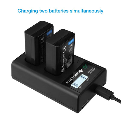 2 Pack NP-FW50 Battery and Dual LCD Battery Charger Compatible with Sony Alpha a6500, a6300, a6000