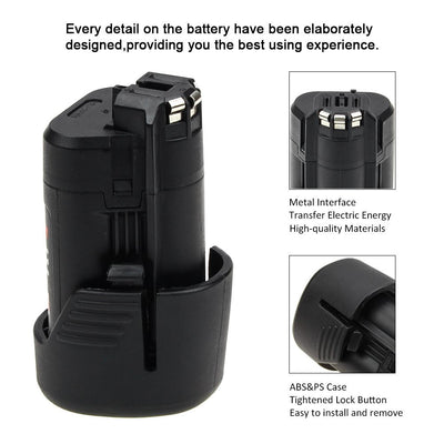 10.8V 2.0Ah Li-Ion Replacement Power Tool Battery For Bosch BAT411 Drills, Cutters