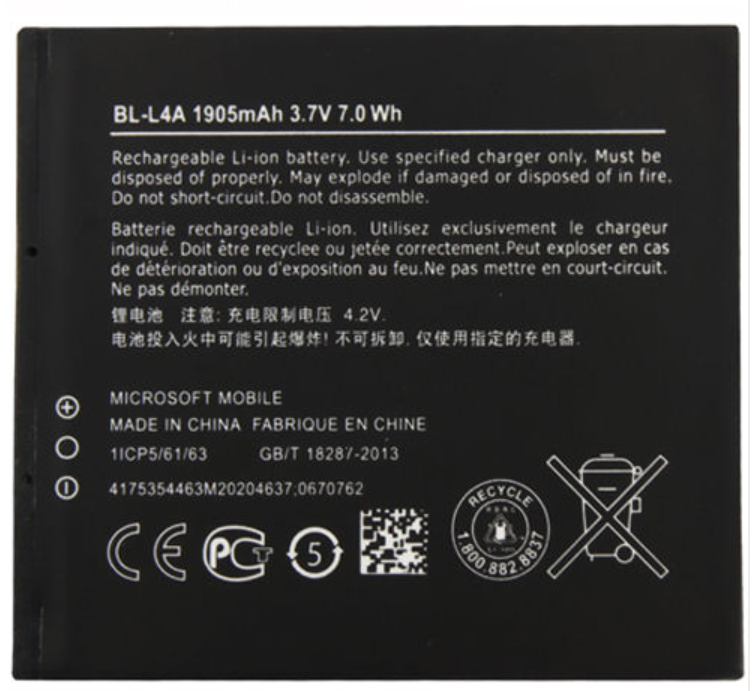 Microsoft Internal Battery BL-L4A 1905mAh 3 7v 7 0 Wh For Microsoft Lumia  535