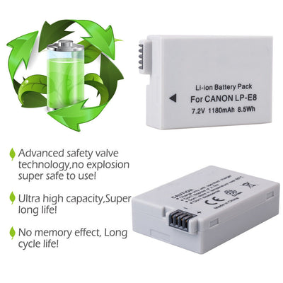 2x LP-E8 battery + LCD charger for Canon EOS 550D / 600D / 650D / Rebel / T2i /