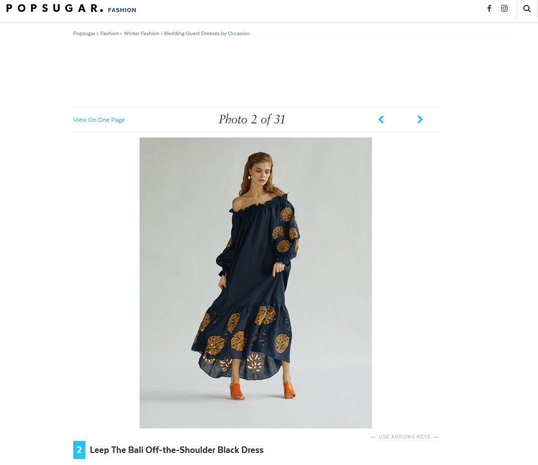Lee Pfayfer The Bali Off-the-Shoulder Black Dress is featured on Pop Sugar