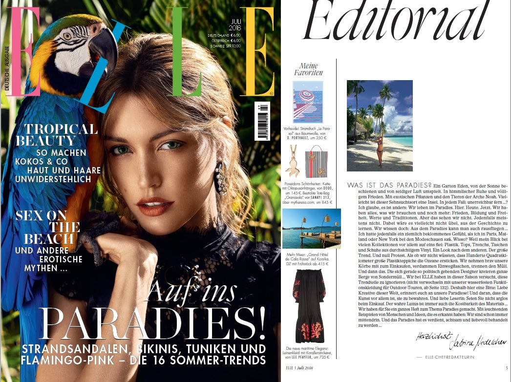 Lee Pfayfer dress is featured in Elle DE July's issue