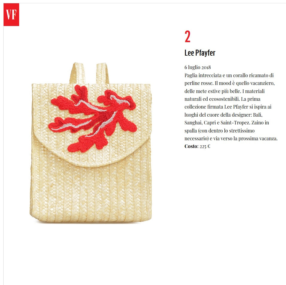 Lee Pfayfer Bag is featured in Vanity Fair.IT