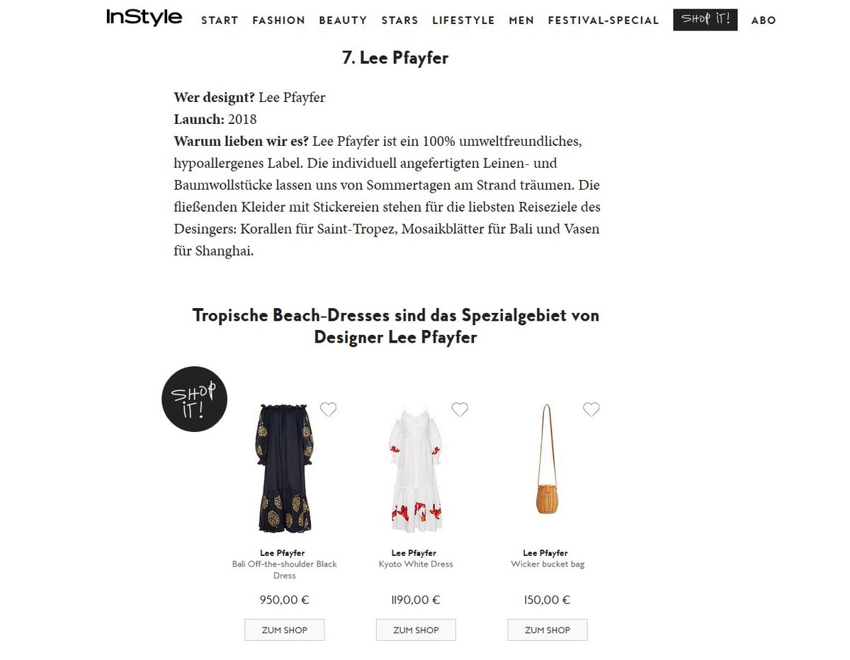 InStyle.DE about Lee Pfayfer brand
