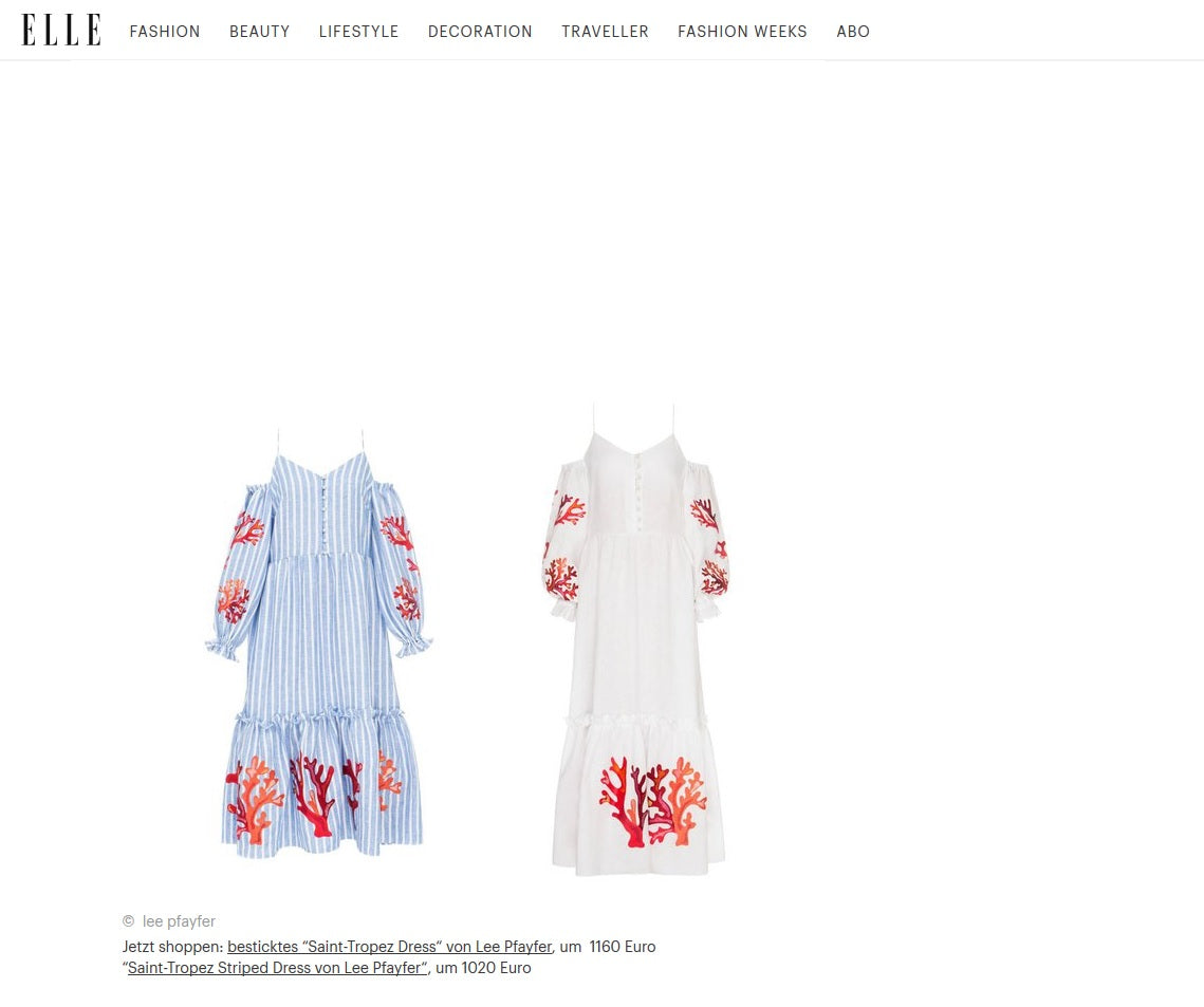 Lee Pfayfer Dresses are featured in Elle DE