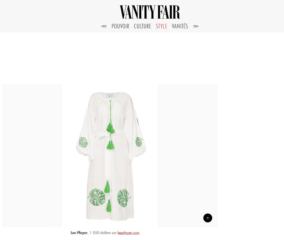 Lee Pfayfer Dress is featured in Vanity Fair.FR
