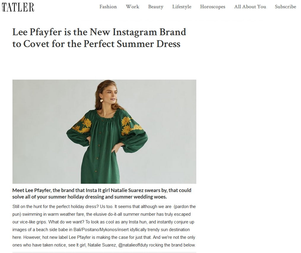Tatler Ireland about Lee Pfayfer brand