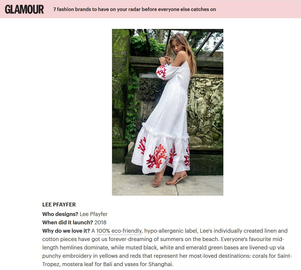 Lee Pfayfer is in Glamour UK as one of new fashion brands you should know