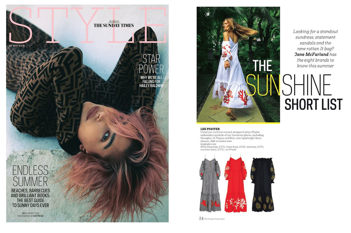 Lee Pfayfer dresses are  on the pages of The Sunday Times