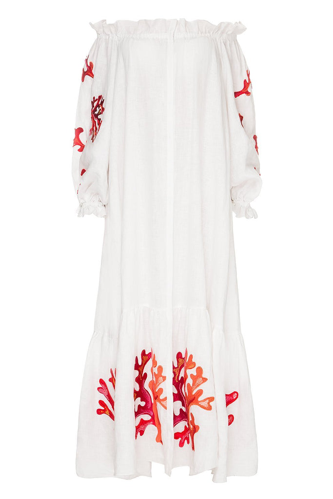 Saint-Tropez Off-the-shoulder White Dress with Beads