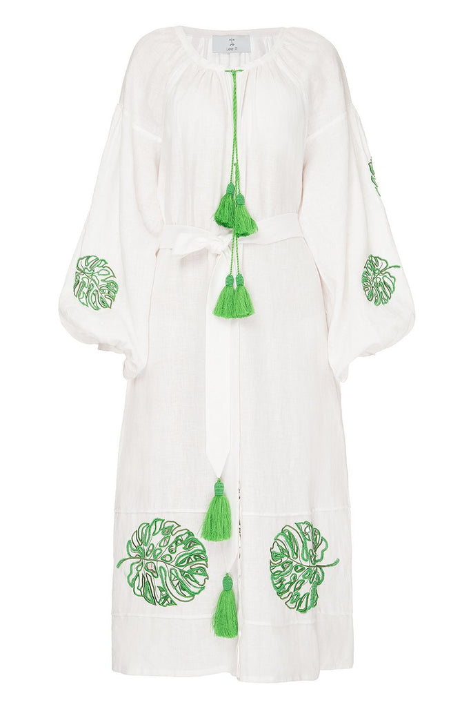 Bali White Dress with Sleeves and Beads