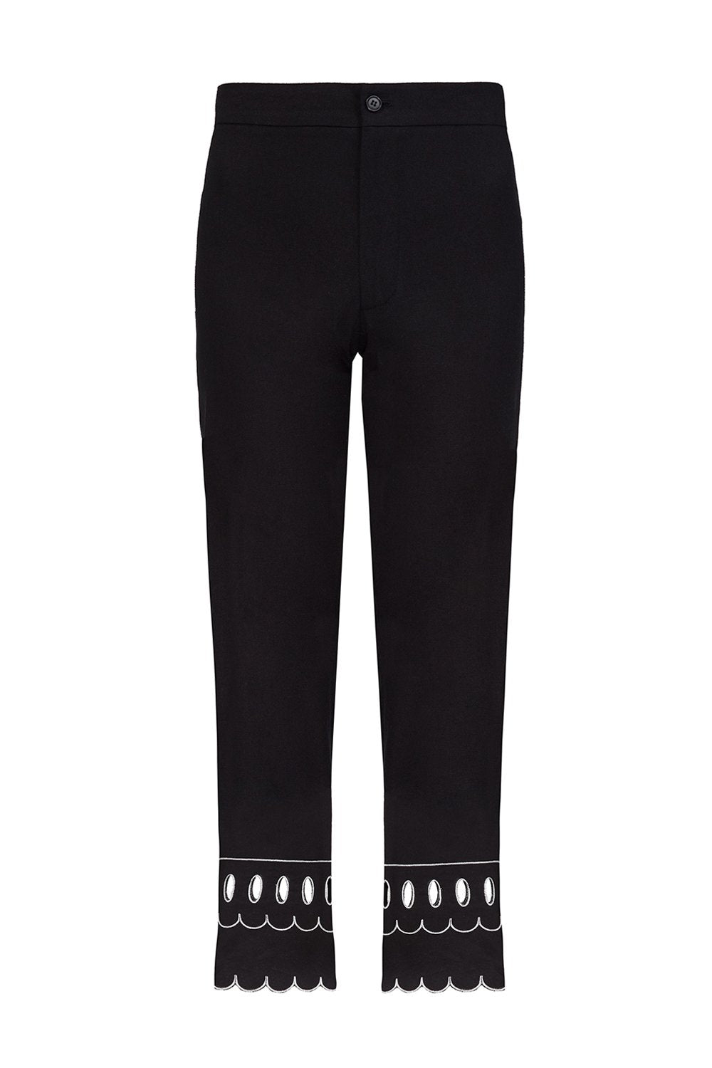 Black linen cropped wide-leg pants with embroidered hem