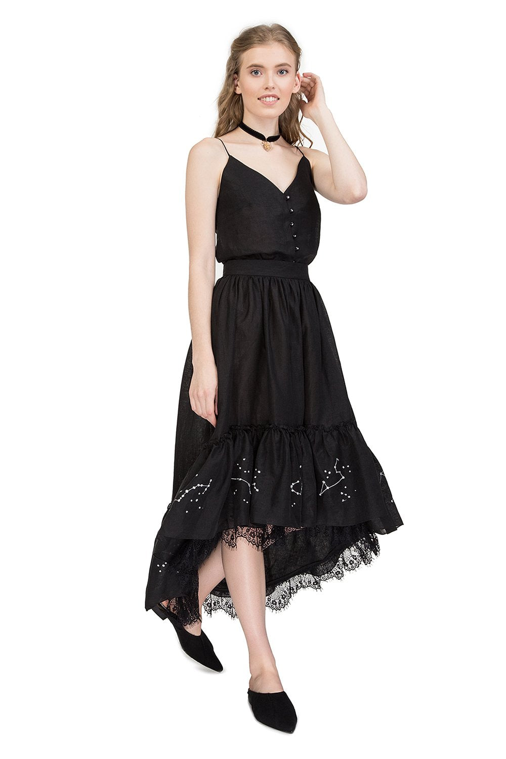 Zodiac ruffled midi skirt