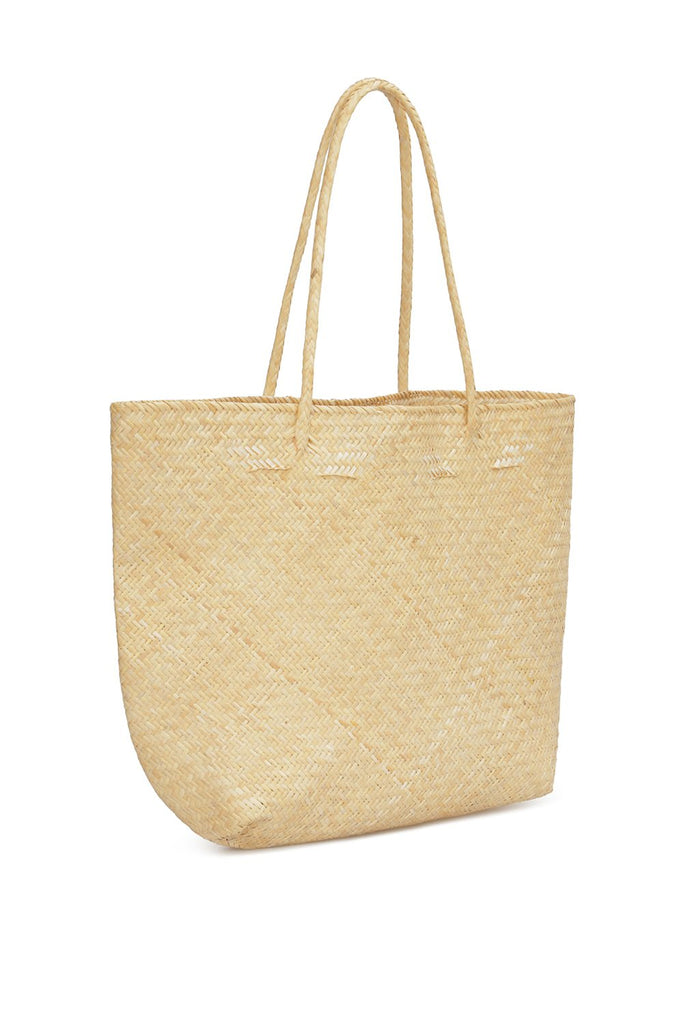 Wicker tote with embroidery
