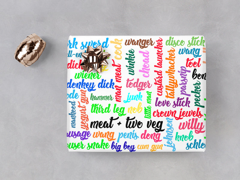 PENIS WORDS WRAPPING PAPER