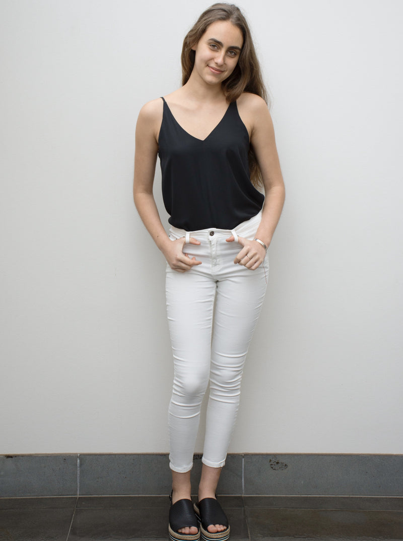 Zoe Basic Jeans - White Denim