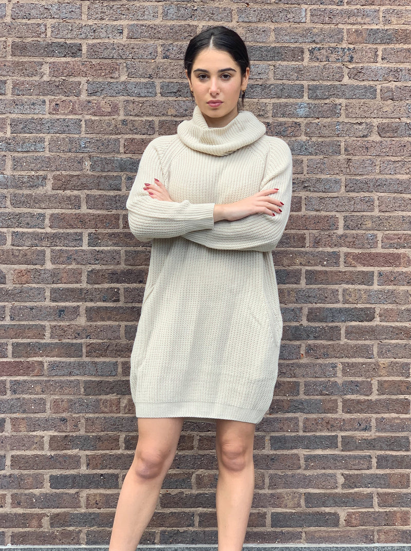 Cozy cream knit dress with oversized roll neck, pockets and a ribbed hemline.
