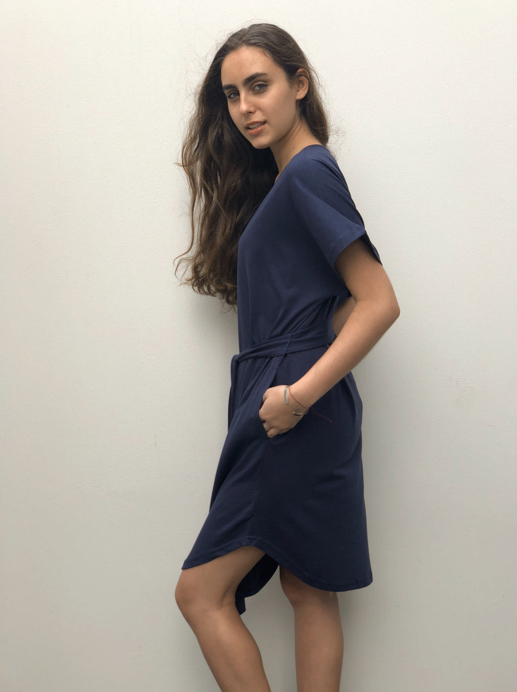 Navy T-Shirt Dress with a waist tie and pockets.