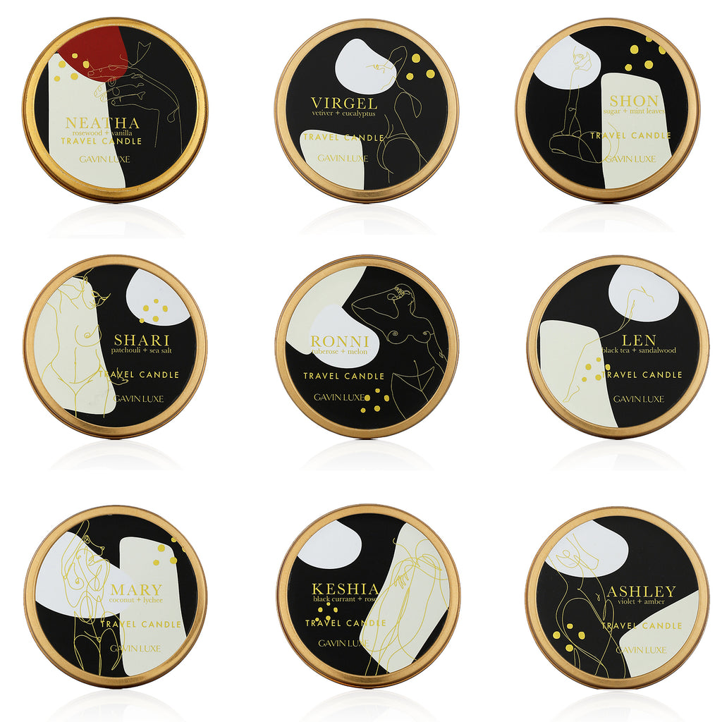 Travel Candle Collection Set of 9 + 1 Bonus