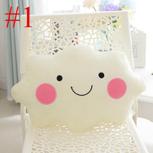 Kawaii soft Plush Smiley Face Bow Cloud pillow 100% Cotton