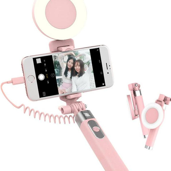 Selfie Stick with Lightening Wire Control & LED Light For IPhone 7, 7 Plus, 8
