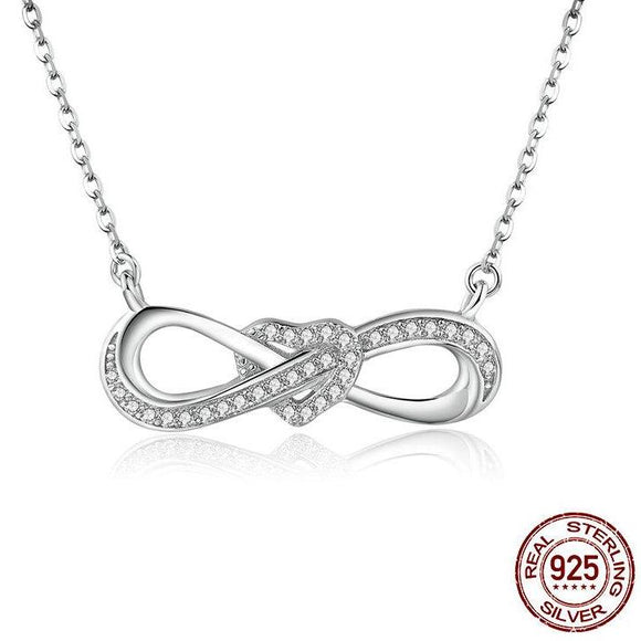 925 Sterling Silver Infinity Love Heart Knotted Necklace