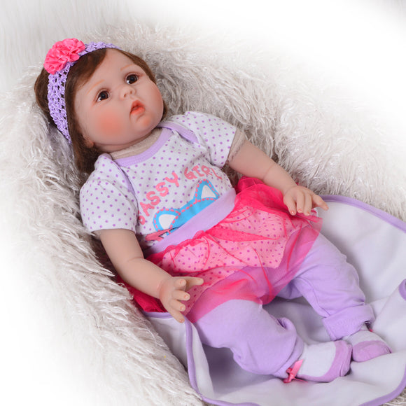 Reborn Baby Dolls With Fiber Hair Girl