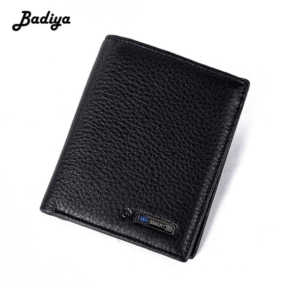 Smart Wallet Tracker Bluetooth Connected with APP Anti Lost Anti Theft Selfie Genuine Leather Wallet