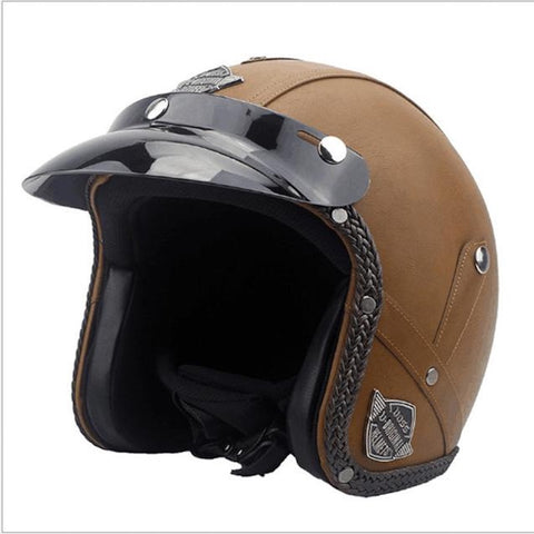 Casque Abs Vintage En Cuir Marron Motardcorner