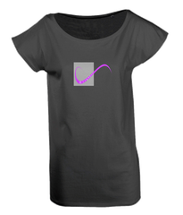 Ladies Long T-Shirt in Black with simple logo saying