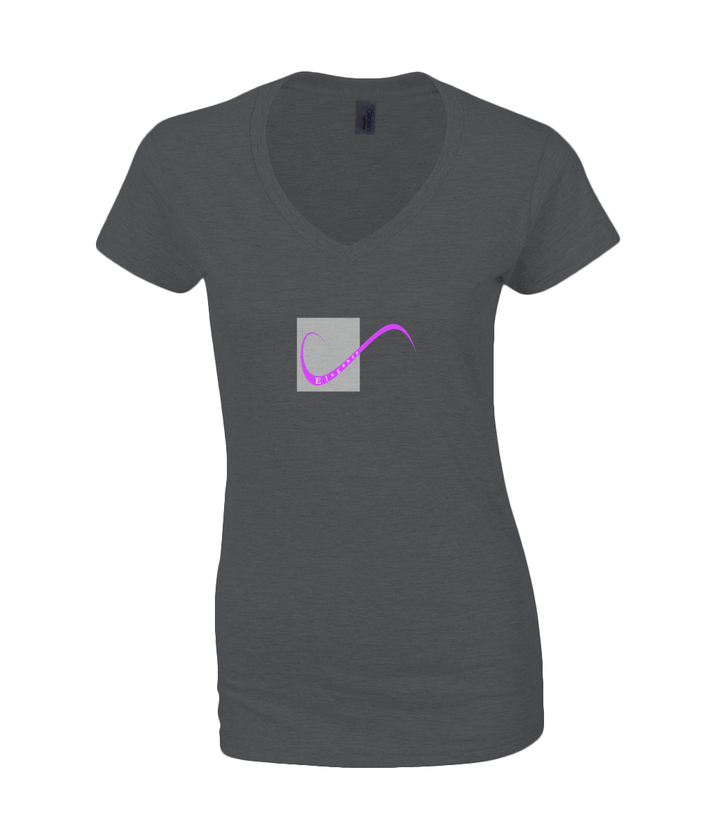 "Ladies T-Shirt on Black with simple logo saying ""Elegance"" embedded into the swirling logo"