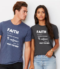 Faith Like Wifi Funny Christian Quote on a Unisex Dark Grey  & navy T-Shirt