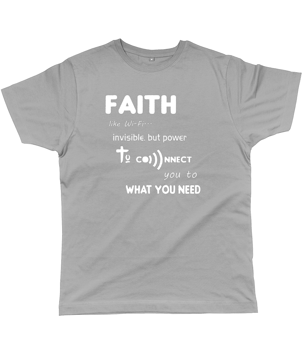 Faith Like Wifi Funny Christian Quote on a Unisex Light Grey T-Shirt